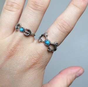 Bundle of two silver & turquoise thin arrows rings